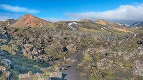 Laugahraun熔岩荒野, Fjallabak自然保护, I 免版税库存图片