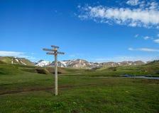 Laugavegur hiking trail marker sign post with directions to Emstrur-Botnar, Alftavatn, Hvanngil, Highlands of Iceland royalty free stock image