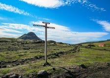 Laugavegur hiking trail marker signpost with directions to Emstrur-Botnar, Alftavatn, Hvanngil, Highlands of Iceland royalty free stock photos