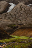 Laugavegur trail. Detail of mountains and snow on the Laugavegur trail - Landmannalaugar - Iceland Stock Images