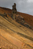Laugavegur trail. Detail of rock and cliff - Laugavegur trail - Iceland Royalty Free Stock Photo