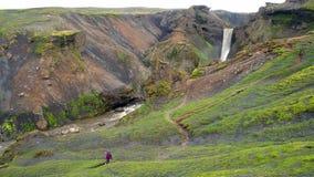 Laugavegur trail extended to Skogar Stock Photo