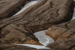 Laugavegur Trail, Landmannalaugar, Iceland. Detail of snow on the Laugavegur Trail, Landmannalaugar, Iceland Stock Photography