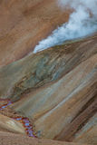 Laugavegur Trail, Landmannalaugar, Iceland. Detail of a steam vent on the Laugavegur Trail, Landmannalaugar, Iceland Stock Images