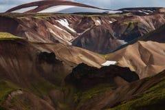 Laugavegur trail. Mountains and snow on the Laugavegur trail - Landmannalaugar - Iceland Royalty Free Stock Photo