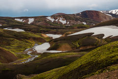 Laugavegur trail. Mountains and snow on the Laugavegur trail - Landmannalaugar - Iceland Royalty Free Stock Photos