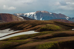 Laugavegur trail. Mountains and snow on the Laugavegur trail - Landmannalaugar - Iceland Stock Photography