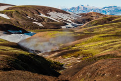 Laugavegur trail. Mountains and snow on the Laugavegur trail - Landmannalaugar - Iceland Royalty Free Stock Image