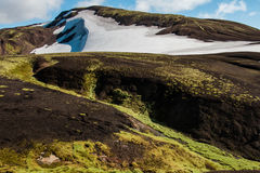 Laugavegur trail. Mountains and snow on the Laugavegur trail - Landmannalaugar - Iceland Stock Photos