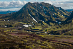 Laugavegur trail. Mountains and snow on the Laugavegur trail - towards Alftavatn - Iceland Royalty Free Stock Photo