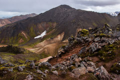 Laugavegur trail. Volcanic landscape with snow in the distance at Landmannalaugar - Iceland Stock Images