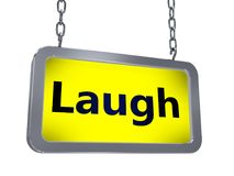 Laugh on billboard. Laugh on yellow light box billboard on white background Stock Image