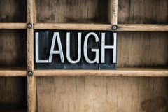 Laugh Concept Metal Letterpress Word in Drawer Royalty Free Stock Image