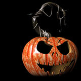 Laugh. Crazy expressions and characters carved on a Halloween pumpkin Royalty Free Stock Image