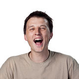 Laugh out loud. Young man laughing out loud Stock Photography