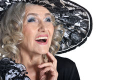 Laugh of senior woman Royalty Free Stock Images