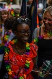 Laugh and smile. Gay pride at Copenhagen, year 2018 stock photo