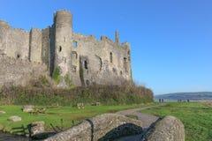 Laugharne城堡,威尔士 库存照片