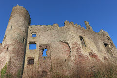 Laugharne Castle, Wales. The poet Dylan Thomas boathouse and 13th century Laugharne Castle are set at the mouth of the river Taf, with far reaching views over Royalty Free Stock Photo