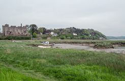 Laugharne estuary and castle Royalty Free Stock Photos