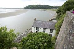 Laugharne, País de Gales, Reino Unido, julio de 2014, vista del varadero de Dylan Thomas fotografía de archivo libre de regalías