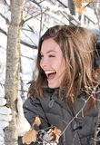 Laughing. Women laughing in nature during winter Royalty Free Stock Image