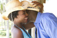 Laughing African American couple on vacation Stock Photo