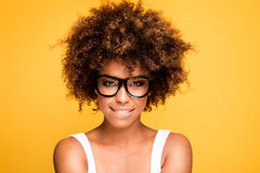 Laughing african american girl with afro. Royalty Free Stock Image