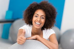 Laughing African American woman in a gym Stock Photos