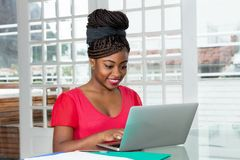 Laughing african american woman shopping online royalty free stock photos