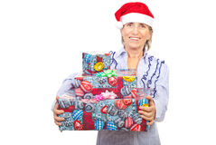 Laughing Aged Woman Holding Christmas Presents Stock Images