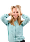 Laughing attractive blonde woman Royalty Free Stock Images