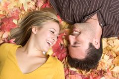 Laughing Autumn Couple Stock Photo