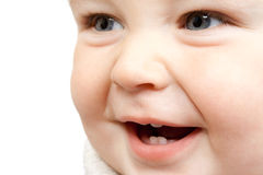 Laughing baby. Close-up portrait of a laughing baby Royalty Free Stock Images