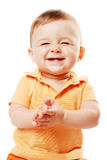 The laughing baby. Smiling baby isolated over white Royalty Free Stock Photography