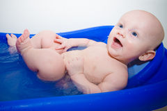 Laughing Baby in Bathtub Stock Photography