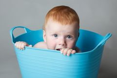 Laughing baby in a blue bucket Stock Photos