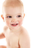 Laughing baby boy. On white background royalty free stock photography