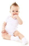 Laughing baby boy. On white background Royalty Free Stock Image