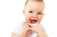 Laughing baby boy. On white background stock image