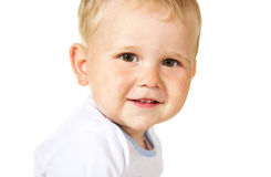 Laughing baby boy. On white background Stock Images
