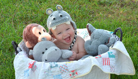 Laughing Baby Boy in Basket of Stuffed Animals. Baby boy in basket of animals laughing royalty free stock photo