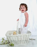 Laughing Baby and Chick?. Baby girl, standing in basket, with chick Stock Photos