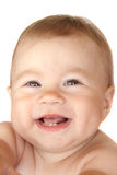 Laughing baby portrait. Isolated on white background Royalty Free Stock Photos