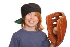 Laughing baseball girl Stock Images