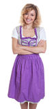 Laughing bavarian woman with curly blonde hair Royalty Free Stock Photography
