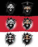 Laughing bearded man and scary zombie skull illustration. Strange laughing bearded man and scary zombie skull illustration Royalty Free Stock Photo