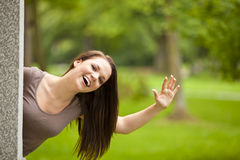 Laughing beautiful brunette woman Royalty Free Stock Photography