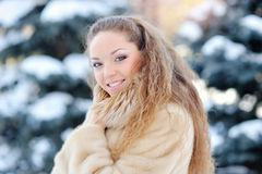 Laughing beautiful girl portrait in winter time Stock Photography