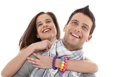 Laughing beautiful young couple Stock Images